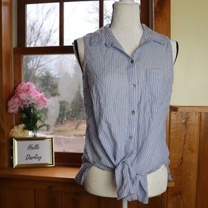 Beach Lunch Lounge Tie Front Blouse Size M